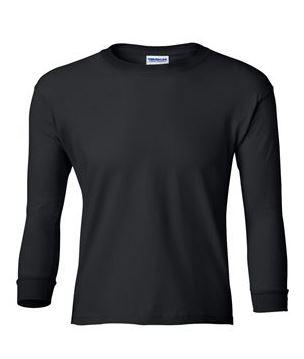 youth black long sleeve t-shirt