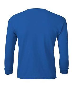 youth blue long sleeve t-shirt back
