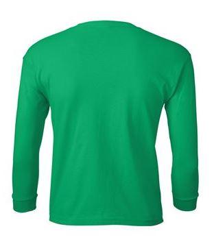 youth long sleeve t-shirt green back