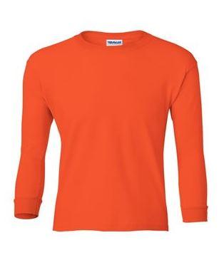 youth long sleeve t-shirt orange