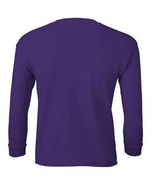 youth purple long sleeve t-shirt back