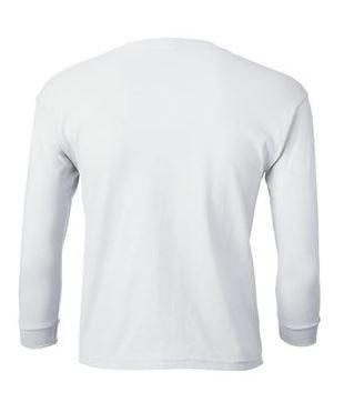 youth white long sleeve t-shirt back