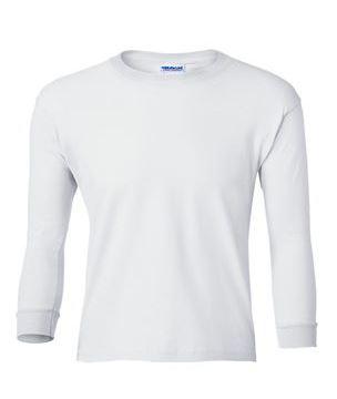 youth white long sleeve t-shirt