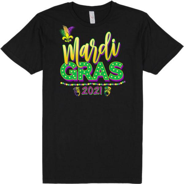 "black t-shirt that says ""mardi gras 2021"""