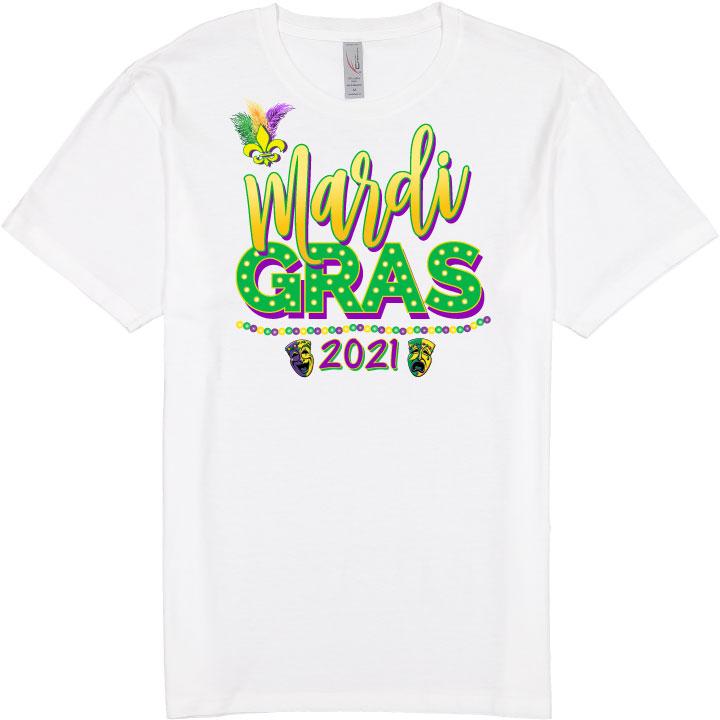 """white t-shirt that says """"mardi gras 2021"""""""