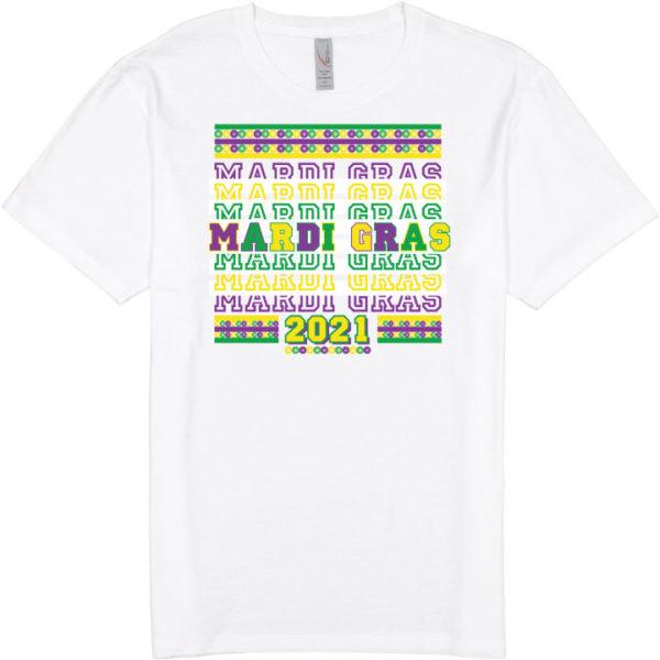 "white t-shirt that says ""mardi gras"" with thank you bag design"
