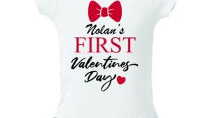 """white onesie that says """"Nolan's first Valentine's Day"""""""